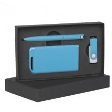 Набор ручка + флеш-карта 16Гб + зарядное устройство 4000 mAh в футляре, голубой, покрытие soft touch