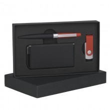 Набор ручка + флеш-карта 8Гб + источник энергии 4000 mAh в футляре, прорезиненный черный/красный