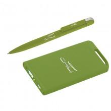 Набор ручка + источник энергии 4000 mAh в футляре, прорезиненный зеленое яблоко