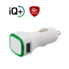 Автомобильное зарядное устройство TWINPOWER с 2-мя разъёмами USB, белый/зелёный прозрачный