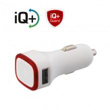 Автомобильное зарядное устройство TWINPOWER с 2-мя разъёмами USB, белый/красный прозрачный