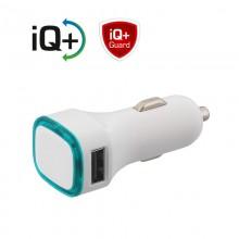 Автомобильное зарядное устройство TWINPOWER с 2-мя разъёмами USB, белый/бирюзовый прозрачный