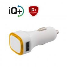 Автомобильное зарядное устройство TWINPOWER с 2-мя разъёмами USB, белый/оранжевый прозрачный
