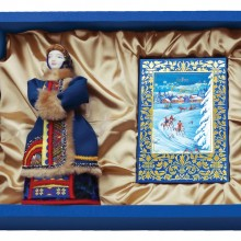 """Набор """"Зима в деревне"""": кукла декоративная, шоколадные конфеты """"Конфаэль"""""""